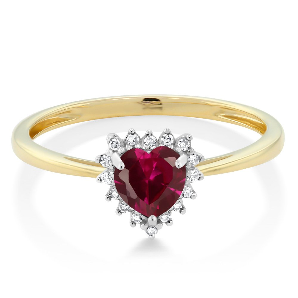 Gem Stone King 10K 2-Tone Gold Red Created Ruby and Diamond Heart Shape Women s Ring 0.60 Cttw 5MM, Available 5,6,7,8,9