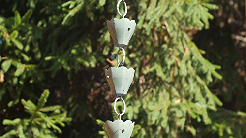 Good Directions 13 Cup Tulip Pure Blue Verde Copper 8.5-Foot Rain Chain Leader by Good Directions (Image #2)