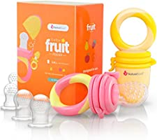 NatureBond Baby Food Feeder / Fruit Feeder Pacifier (2 PCs) - Infant Teething Toy Nibbler Teether and Silicone Food Pouches in Appetite Stimulating Colors | Includes 6 PCs All Sizes Silicone Sacs