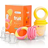 Baby : NatureBond Baby Food Feeder / Fruit Feeder Pacifier (2 PCs) - Infant Teething Toy Teether in Appetite Stimulating Colors | BONUS Includes All Sizes Silicone Sacs