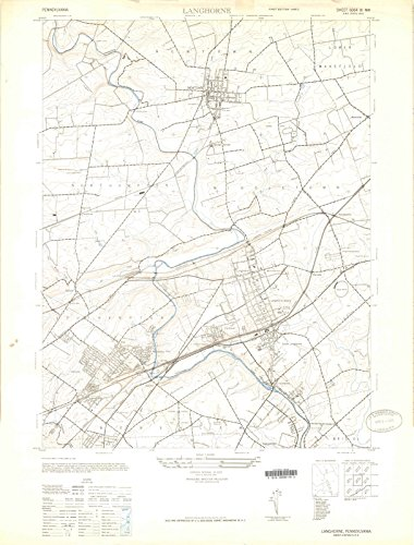 Pennsylvania Maps | 1944 Langhorne, PA USGS Historical Topographic Map |Fine Art Cartography Reproduction - Pa Langhorne Map