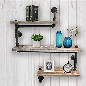 WYZ Furniture Reclaimed Wood & Industrial Heavy Duty DIY Pipe Shelf Shelves Steampunk Rustic Urban Bookshelf 3 Tier Real Wood Bookshelves and bookcases