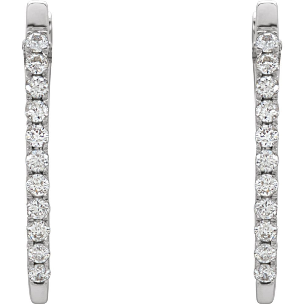 14K White 1//3 CTW Diamond Hoop Earrings