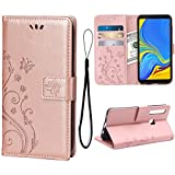 Wallet Case for Samsung Galaxy A9 2018, 3 Card Holder Embossed Butterfly Flower PU Leather Magnetic Flip Cover for Samsung Galaxy A9 2018(Rose Gold)
