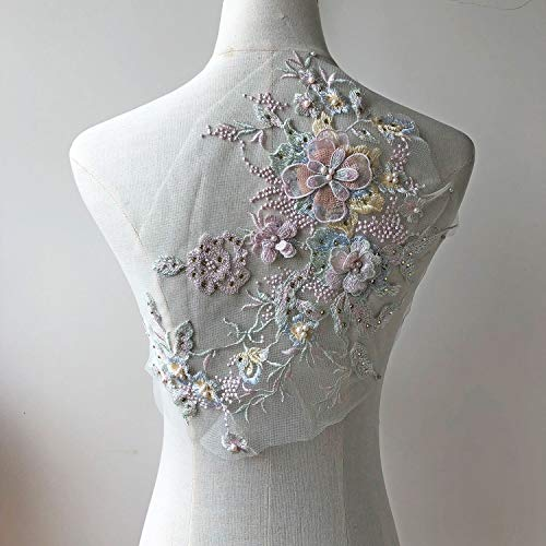 Blossom 3D Flower Applique, Beaded Sequins Flower LACE Patch Bridal Wedding Dress Embossed Beading Embroidery lace Appliques Motif Sewing Craft