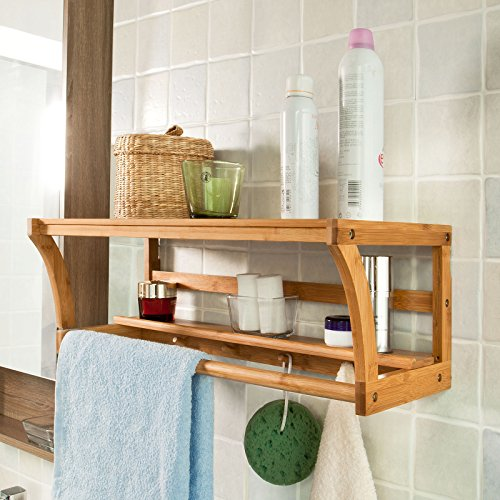 SoBuy FRG49-N, Bathroom Wall Towel Rack, Bamboo Wall Display Storage Shelf, L60 x W25 x H20cm