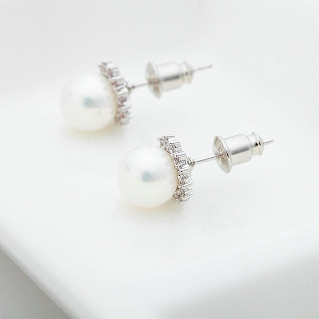 KnSam Women Platinum Plate Pierced Stud Earrings Imitate Pearl Flower Crystal Rhinestone White