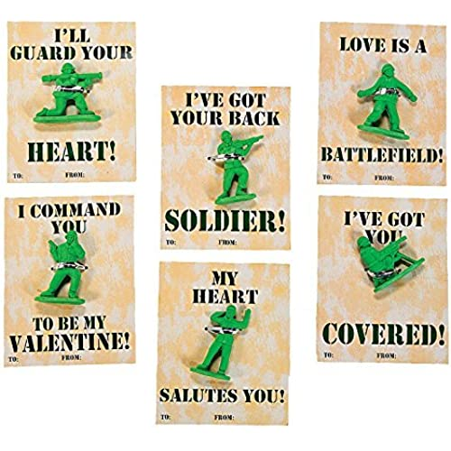 24 Classroom Army Guy Valentine Cards with Soldier Erasers Sales