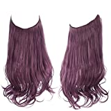 SARLA Colored Halo Hair Extensions Deep Dark Purple Grape Curly Short Synthetic Hairpiece 14 Inch 3.7 Oz Hidden Wire Headband for Women Girl Kid Party Heat Resistant Fiber No Clip(M04&Grape)