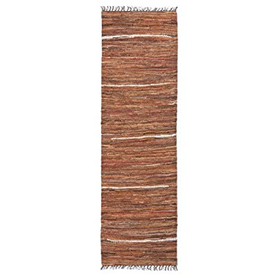 HF by LT Tucson Hallway Rug Runner, 2-1/2' X 8', Handwoven Recycled Leather, Brown - SUPPLE SUEDES & LEATHERS - Ultra-soft, natural hides detail a refined rug that's plush underfoot; ages well, softening with repeated use QUALITY CRAFTSMANSHIP - Hand woven utilizing unique techniques MADE FROM 100% RECYCLED LEATHER - Larry Traverso products use excess leather reclaimed from coat and shoe factory trimmings - runner-rugs, entryway-furniture-decor, entryway-laundry-room - 51e fOx0N5L. SS400  -