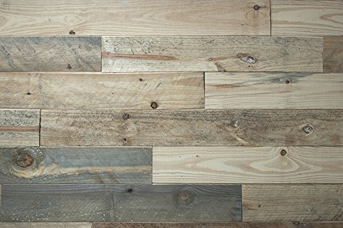 """FourSeasons Reclaimed Pine Shiplap Authentic Reclaimed Natural Pine Rustic, Distressed, Great for DIY Projects, 5"""" Wide x 5/8"""" Thick, 20 Square Feet per Box"""