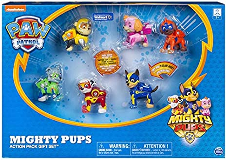 Amazon Com Paw Patrol Mighty Pups Action Pack Gift Set Toys Games