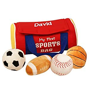 """GiftsForYouNow Personalized My First Sports Bag Baby Toy, 7"""" x 4"""" x 3"""", Polyester Blend"""
