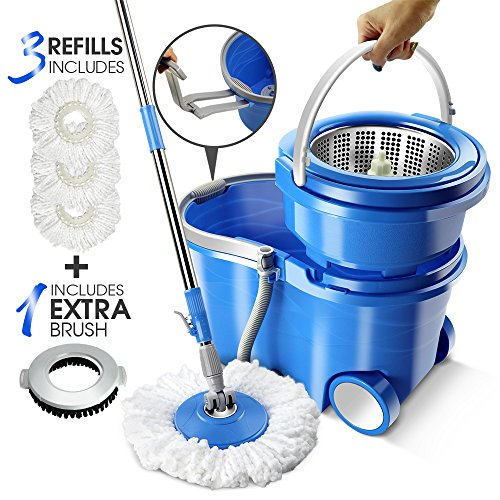 (12L Magic Wheel Spin Mop Stainless Steel Rotating Bucket Set Floor Cleaning 3Pcs Microfiber 1 Pc Floor Brush Mop Head)