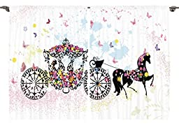 Ambesonne Girls Kids Room Decor Collection, Vintage Floral Carriage Black Horse Colorful Flowers Fairy Butterfly Cinderella, Window Treatments for Kids Bedroom Curtain 2 Panels Set, 108X84 Inches