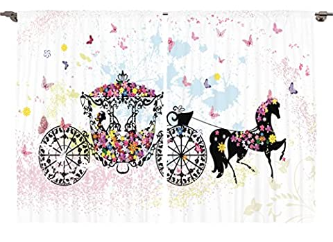 Ambesonne Girls Kids Room Decor Collection, Vintage Floral Carriage Black Horse Colorful Flowers Fairy Butterfly Cinderella, Window Treatments for Kids Bedroom Curtain 2 Panels Set, 108X63 Inches