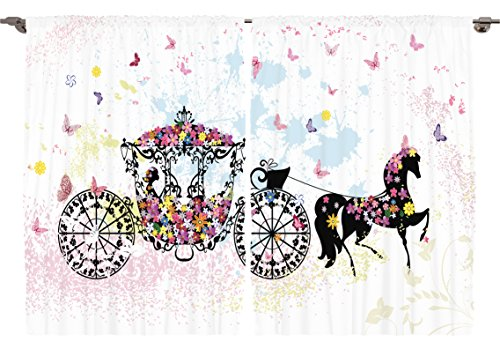 Ambesonne Girls Kids Room Decor Collection, Vintage Floral Carriage Black Horse Colorful Flowers Fairy Butterfly Cinderella, Window Treatments for Kids Bedroom Curtain 2 Panels Set, 108X63 Inches (Horse Bedroom Set)