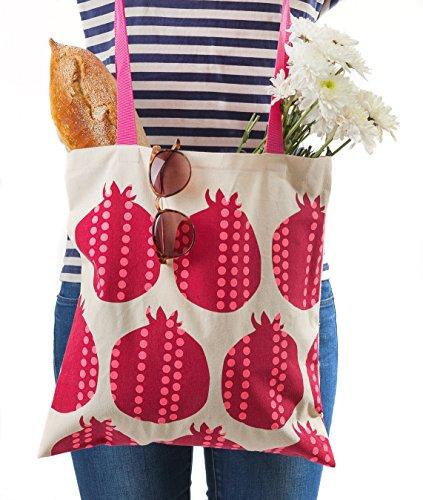 Gift Pomegranate - Cotton-Canvas Hand Shoulder Tote Bag, Jewish (Pomegranates) Barbara Shaw Gifts, Made in Jerusalem