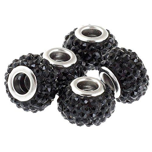 RUBYCA Big Hole Large Crystal Slide Charm Beads fit European Charm Bracelet (10pcs, Black, 15mm) (Crystal European Style Beads)