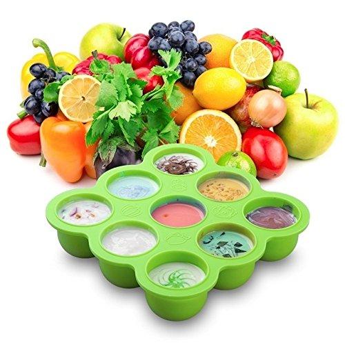 (Ice Lattice Box-NACOLA 9 Grid Hole Silicone Crisper Ice Lattice Box Cover Plate Freezer Baby Food Storage Container Fresh Keeper)