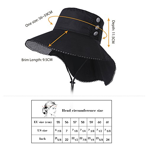 UV Protection Sun Hats Women Summer Gardening Fishing Hiking Travel Shade Hat Wide Brim Foldable Cotton Black Siggi by SiggiHat (Image #5)