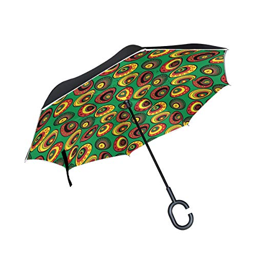 WIHVE Inverted Umbrella Easter Holiday Egg Large Double Layer Reversible Umbrella for Car Rain Outdoor