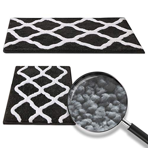 2 Pieces Ultra Soft Microfiber Bath Mat, Anti Slip Bath Rug Set, Strong Absorbent, Machine Washable Shower Rugs, Perfect…