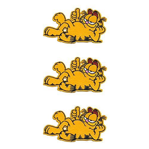 Application Cartoon Classic Garfield Cosplay Badge Embroidered Iron or Sewn-On Applique Patch 3-Pack Gift (Garfield Halloween Special)