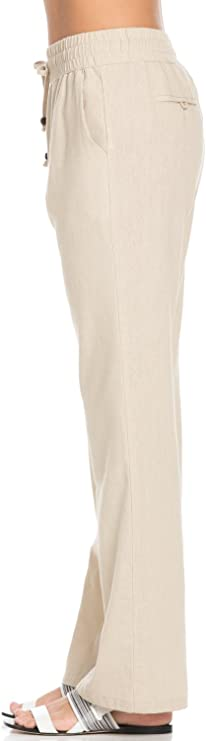 LISA Deep pockets linen pants with elastic waistband Soft washed women linen trousersLinen pants in 55 colorsSlim fit lounge pantsMod