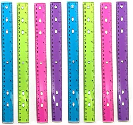 Assorted crystal-colored 8 pcs//set, 1InTheOffice 12 Ruler