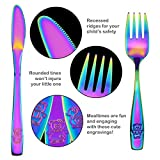 9 Piece Stainless Steel Rainbow Kids Cutlery, Child and Toddler Safe Flatware, Kids Silverware, Kids Utensil Set Includes 3 Knives, 3 Forks, 3 Spoons, Total of 3 Settings, Ideal for Home and Preschool