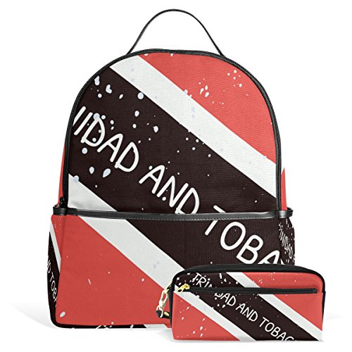 (Distressed Trinidad And Tobago Flag Unisex Canvas School College Student Backpack Laptop Bags Rucksack Casual Daypack with Pencil Case)