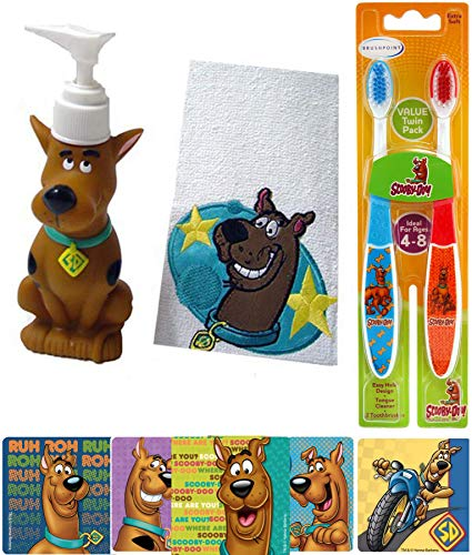 (Clean Up Scooby-Doo! Bath Jam Fun Time Kids Cartoon Character Buddy Set Zoinks! Soap Figure Dispenser & Bath Hand Towel + Twin Toothbrush Pack + Action Stickers Bundle)