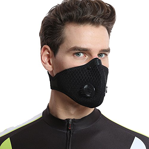 Dustproof Mask - Activated Carbon Dust Masks - with Extra Filter Cotton Sheet and Valves for Exhaust Gas, Anti Pollen Allergy, PM2.5, Running, Cycling, Outdoor Activities (2 Pack Black+Blue, Type 1) by Infityle (Image #6)