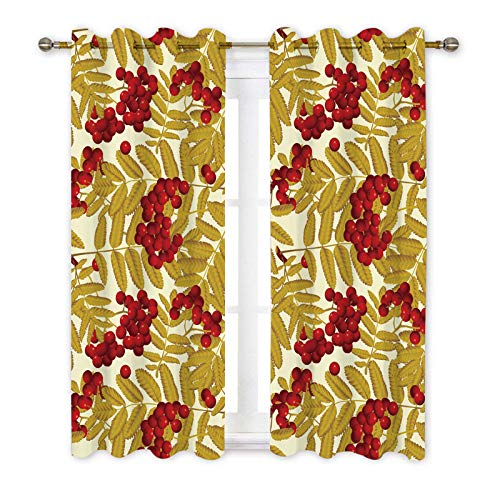 Misscc Blackout Window Curtains 2 Panel Set,Red Rowan Berries and Leaves Pattern Drapes for Living Room Bedroom Kitchen Cafe, Red Yellow