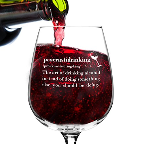 Procrastidrinking Funny Novelty Wine Glass - 12.75 oz. - Humorous Gift or Present for Mom, Women, Friends, or Her - Made in USA (Gag Retirement Gift Baskets)