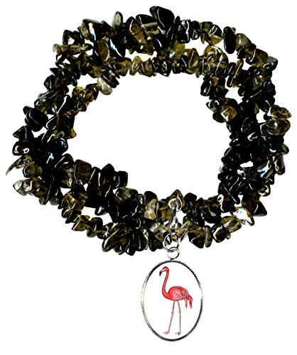 Gw1 Costumes (Pink Flamingo Charm Clip Smoky Quartz Gem Wrap Bracelet or Necklace)