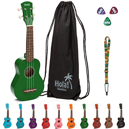 Body Maple Neck Rosewood Fingerboard - Hola! Music HM-21GN Soprano Ukulele Bundle with Canvas Tote Bag, Strap and Picks, Color Series, Green