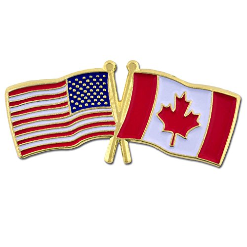 PinMart's USA and Canada Crossed Friendship Flag Enamel Lapel Pin by PinMart (Image #3)