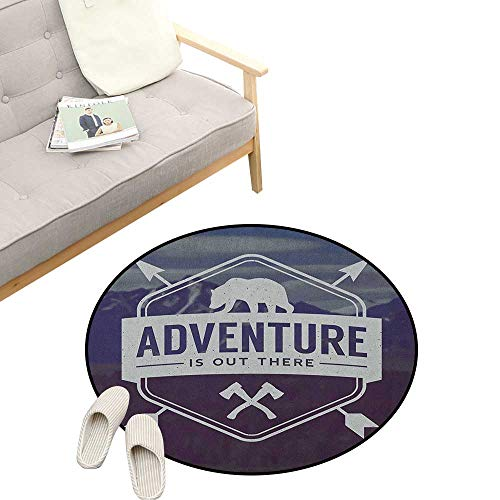 Adventure Round Carpet ,Adventure Logo with a Motivational Quote Hatchets and Bear Mountain Landscape, Kids Room Bedroom Bedside Rug 31
