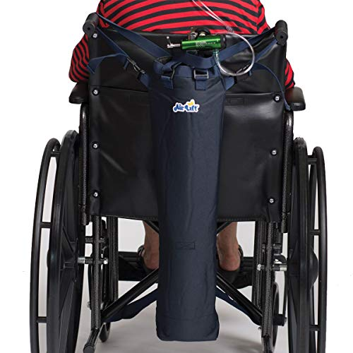 Roscoe Medical Oxygen Tank Bag for Wheelchair/Scooter - Portable Oxygen Carrier for D, E Canned Oxygen Cylinders, Navy Blue