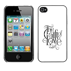 Plastic Shell Protective Case Cover || Apple iPhone 4 / 4S || Love Faith White Black Text @XPTECH