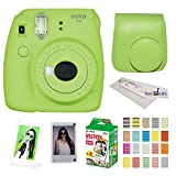 Fujifilm Instax Mini 9 instant Fuji Camera, LIME GREEN + Camera Case + instant Mini 9 Film Twin Pack + instax Picture Frame + Magnet Frame + 20 Border Stickers Kit +FREE Cleaning cloth (Lime Green)