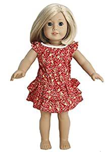 BUYS BY BELLA Red Paisley Dress for 18 Inch Dolls Like American Girl