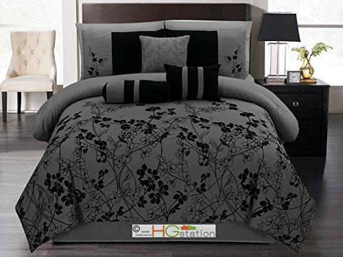 7 pc autumn vine twig flower floral bloom silhouette comforter set dark gray black queen buy. Black Bedroom Furniture Sets. Home Design Ideas