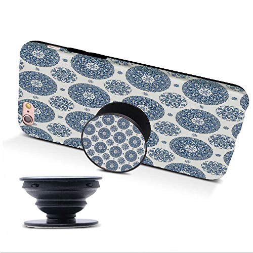 iPhone 6/6s Case with Collapsible Grip&Stand/Vintage/French Country Style Floral Circular Pattern Lace Ornamental Snowflake Design Print/Blue White/Compatible with iPhone6/6s(TPU Case/Black)