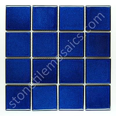 Square Tile Cobalt Blue Porcelain Mosaic Shiny Look 3x3 Inch by Class Tiles