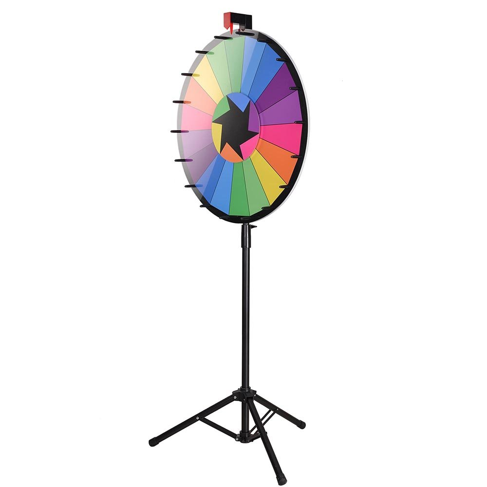 WinSpin 24'' Editable Color Prize Wheel of Fortune 18 Slot Floor Stand Tripod Spin Game Tradeshow Carnival