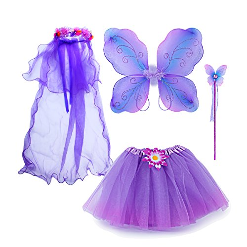 Sinuo Fairy Costume, Costume Set with Wings,Tutu,Wand and Veil Princess Set Fit Girls Age -