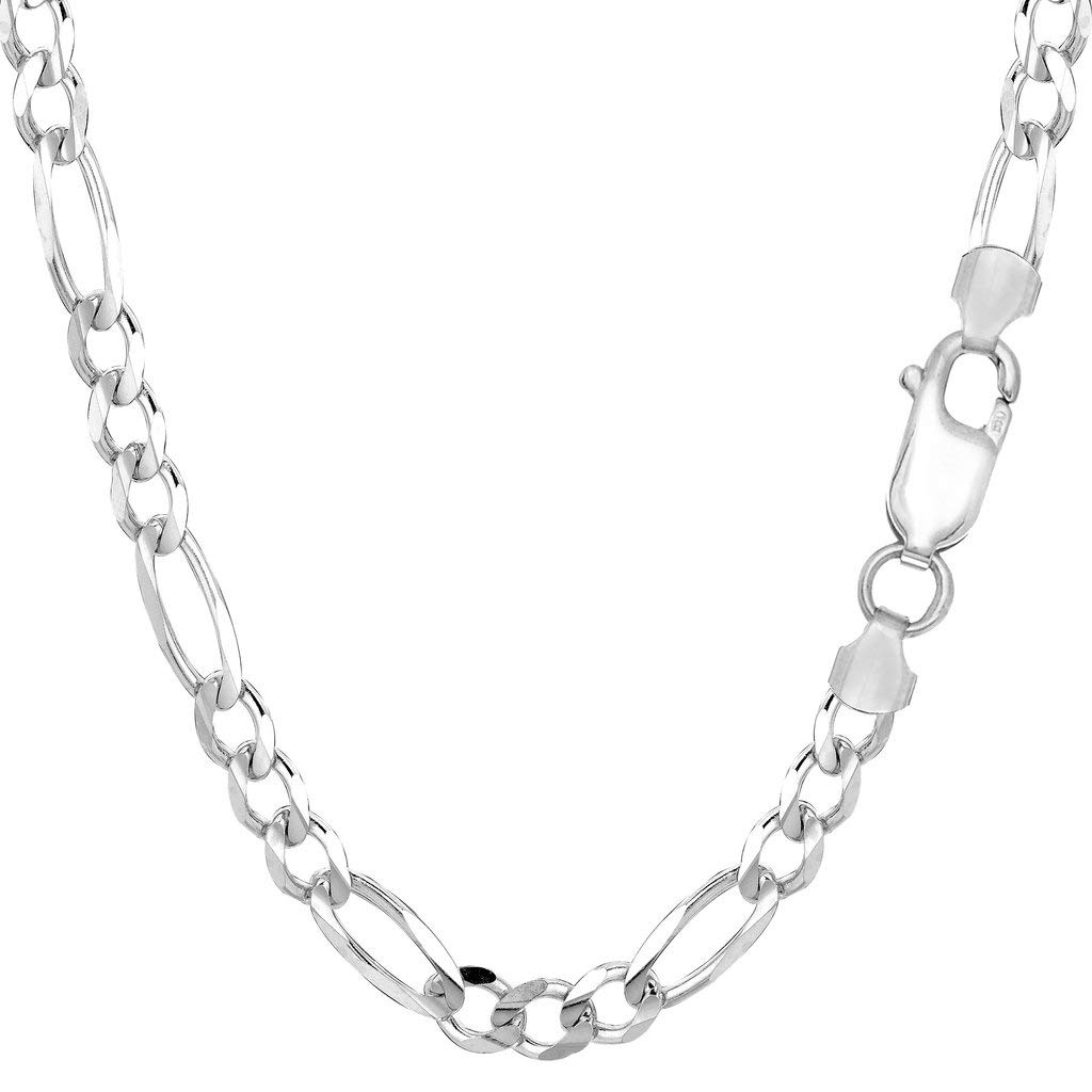 14K Yellow Or White Gold 4.5mm Diamond-Cut Alternate Classic Figaro Chain Necklace Or Bracelet/Foot Anklet for Pendants and Charms with Lobster-Claw Clasp (7'', 8'', 18'', 20'', 22'', 24'' or 30 inch)